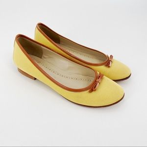 Brooks Brothers yellow canvas ballet flats
